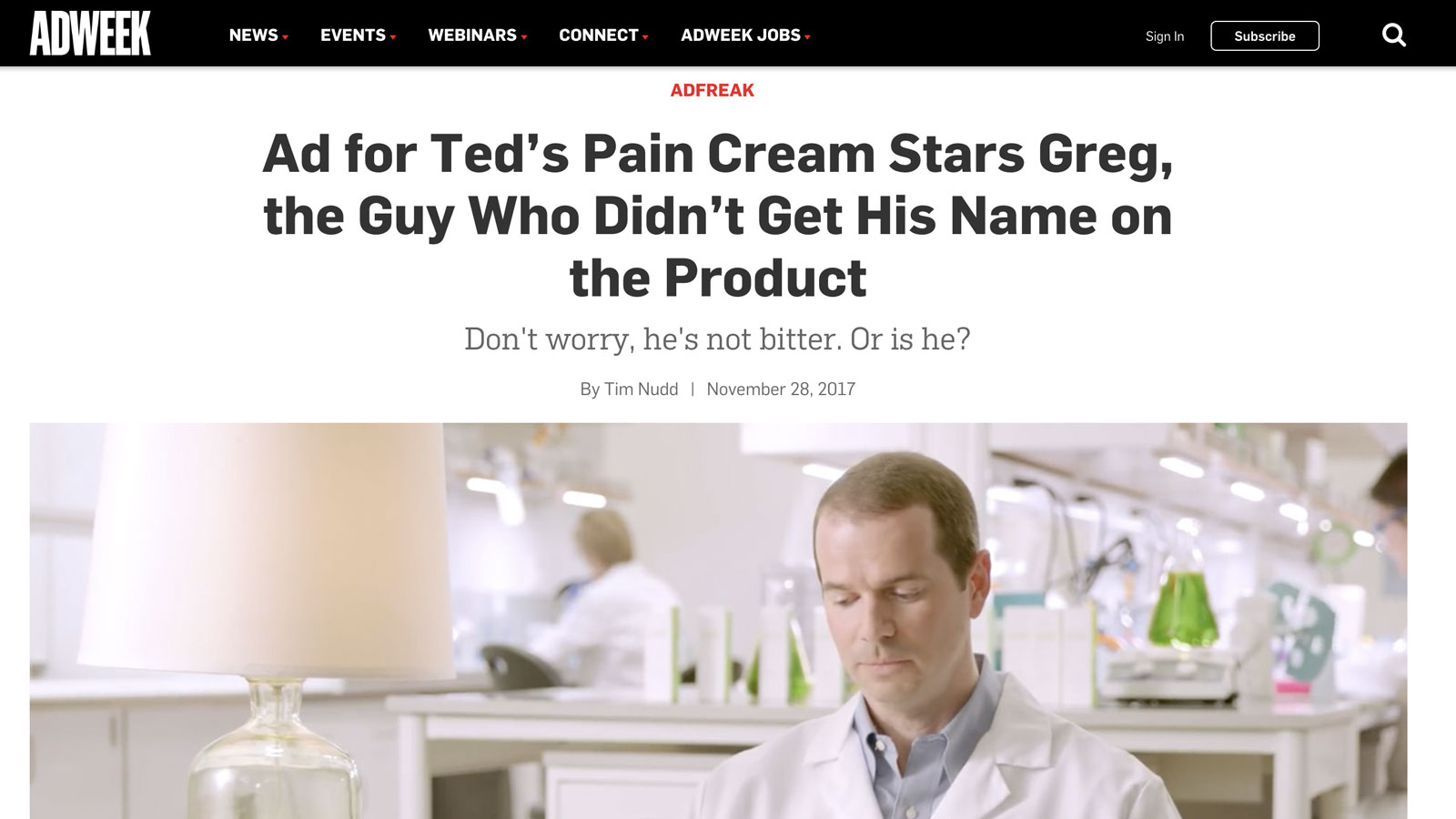 AdWeek – Ted's Pain Cream – My name is Greg